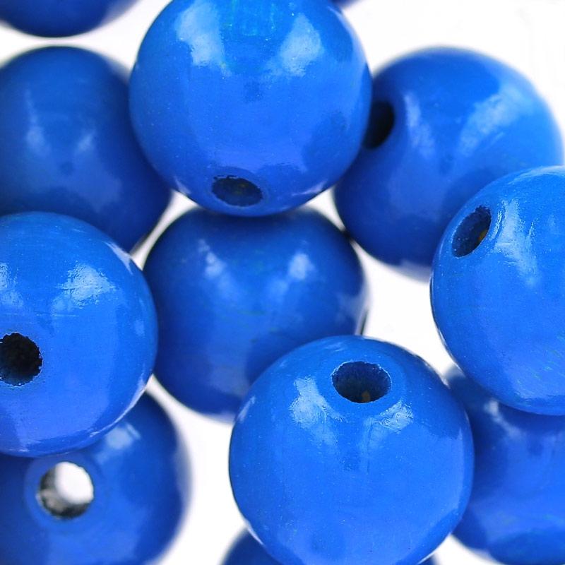grosses perles rondes en bois 15 mm bleu dur x15 perles co. Black Bedroom Furniture Sets. Home Design Ideas