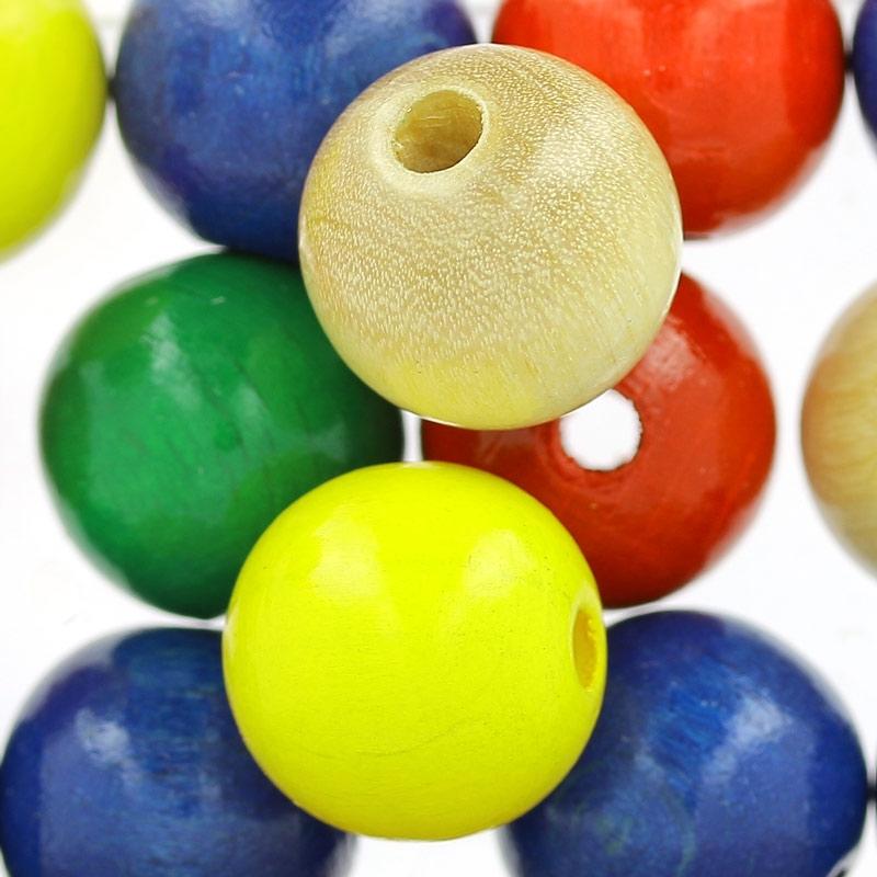 grosses perles rondes en bois 15 mm multicolore x15 perles co. Black Bedroom Furniture Sets. Home Design Ideas