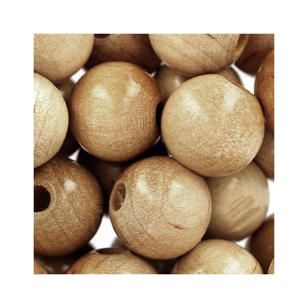 grosses perles rondes en bois 12 mm naturel x30 perles co. Black Bedroom Furniture Sets. Home Design Ideas