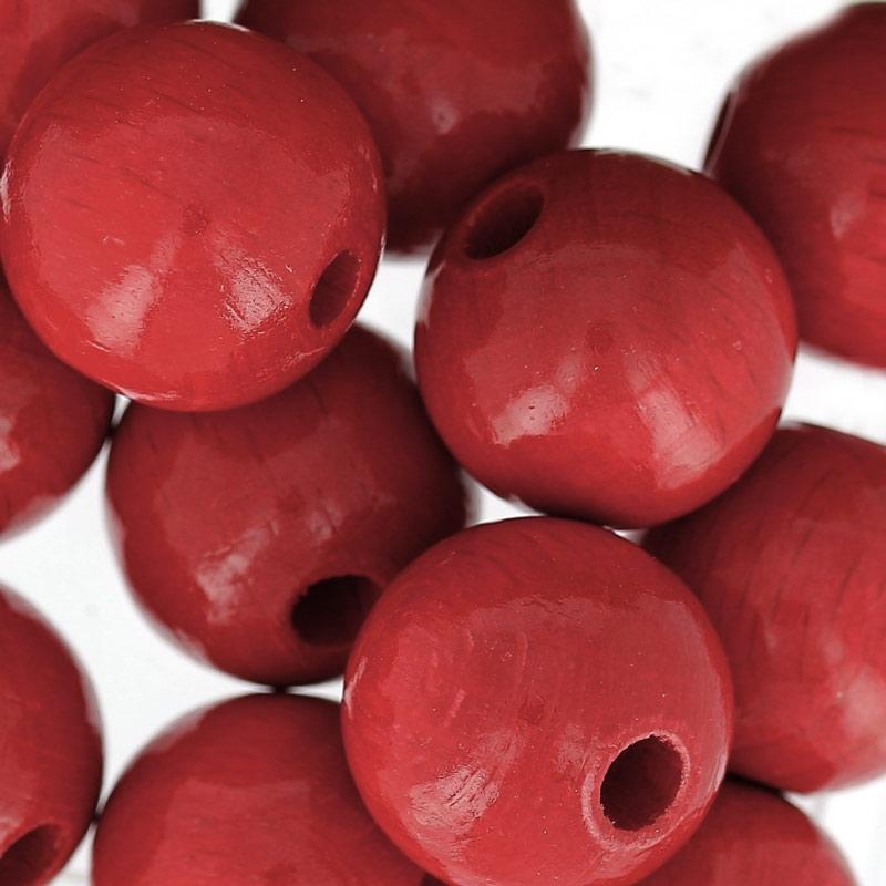 grosses perles rondes en bois 15 mm rouge x15 perles co. Black Bedroom Furniture Sets. Home Design Ideas