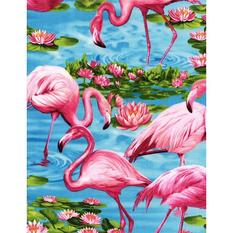 tissu tropical turquoise flamingos x10cm timeless. Black Bedroom Furniture Sets. Home Design Ideas