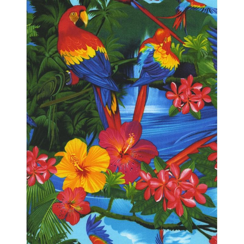 tissu tropical parrots tropical paradise multicolore. Black Bedroom Furniture Sets. Home Design Ideas