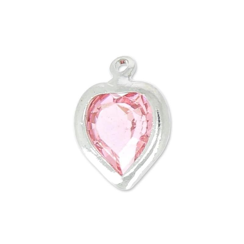 pendentif coeur swarovski mm light rose serti rhodi x1 sw perles co. Black Bedroom Furniture Sets. Home Design Ideas