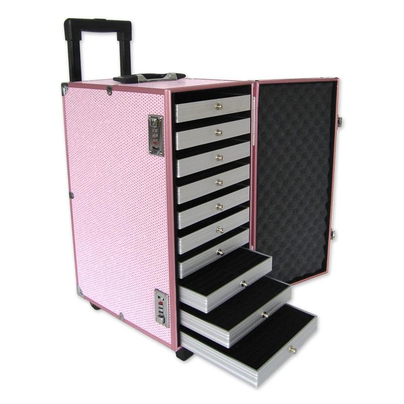 valise transport bijoux avec plateaux professionnel rose paillet perles co. Black Bedroom Furniture Sets. Home Design Ideas