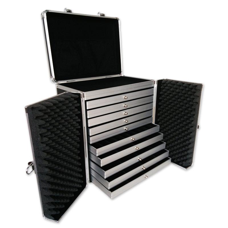 valise transport bijoux avec plateaux professionnel noir. Black Bedroom Furniture Sets. Home Design Ideas