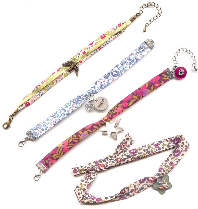 Biais en tissu liberty michelle multicolore x 1m liberty perles co - Tissu pour bracelet liberty ...