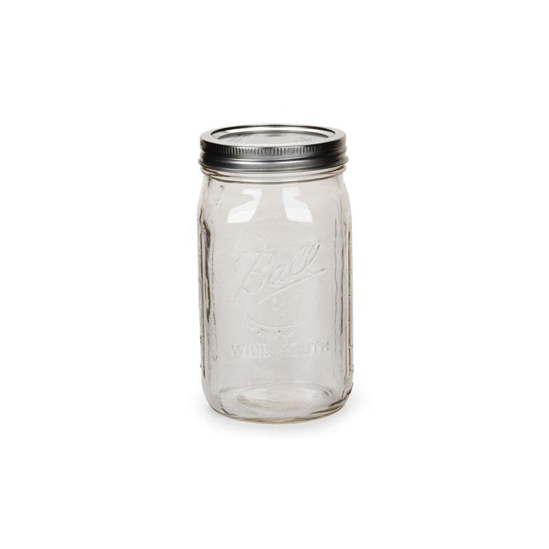 bocal en verre mason jar ball pot mason 32 oz 960 ml wide mouth perles co. Black Bedroom Furniture Sets. Home Design Ideas