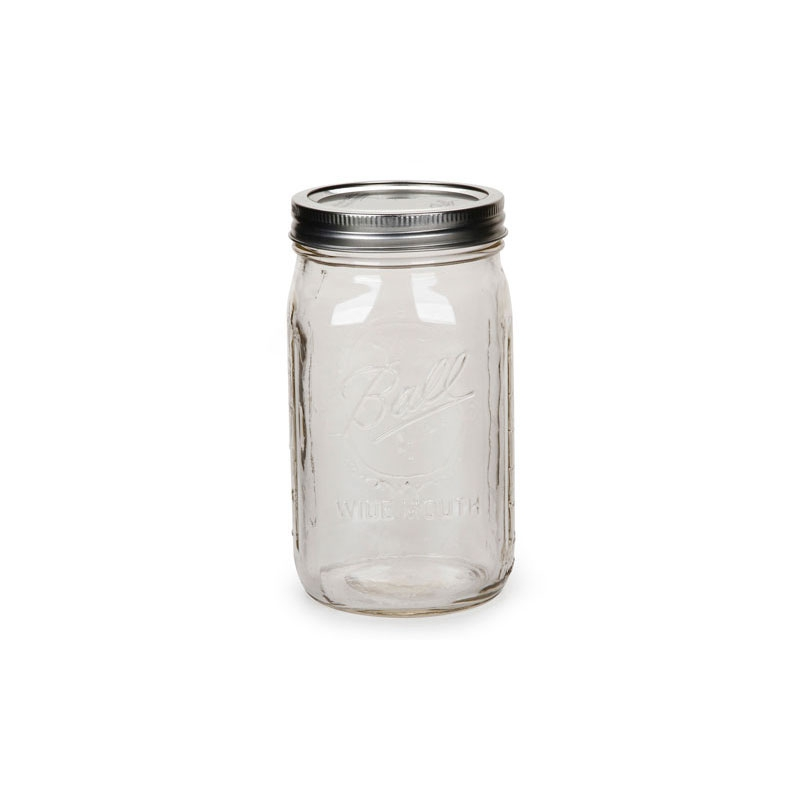 bocal mason jar ball 32 oz wide mouth x1 perles co. Black Bedroom Furniture Sets. Home Design Ideas