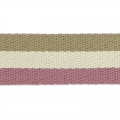 Sangle gros grains 38 mm Lilas/Blanc/Beige x50cm