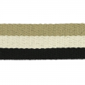 Sangle gros grains 38 mm Noir/Blanc/Beige x50cm