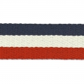 Sangle gros grains 38 mm Rouge/Bleu Marine/Beige x50cm