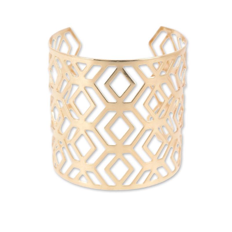 bracelet manchette losange 62 mm dor rose x1 perles co. Black Bedroom Furniture Sets. Home Design Ideas