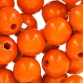 Perles rondes en bois 10 mm Orange x50
