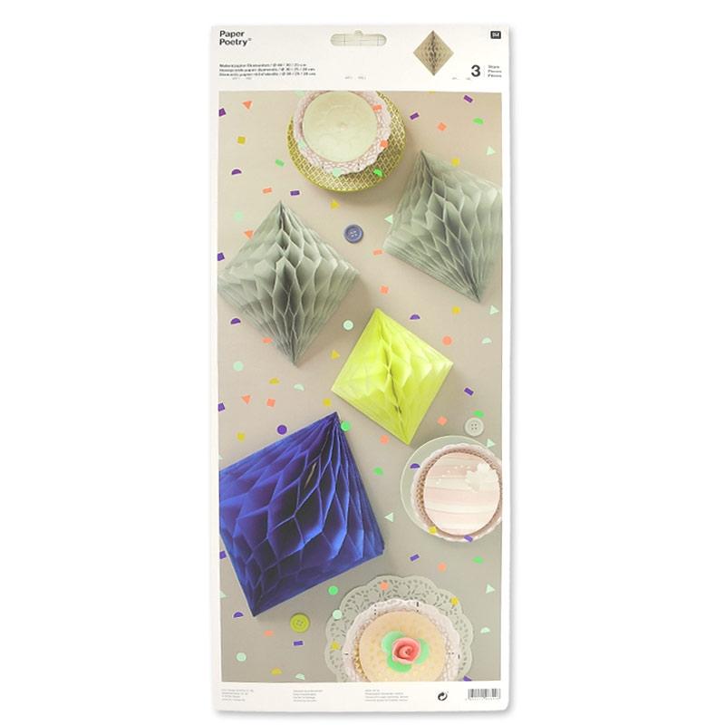 assortiment de 3 diamants en papier d co de table paper. Black Bedroom Furniture Sets. Home Design Ideas