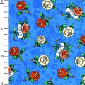 Tissu Love Is True by Ed Hardy - Ultramarine Roses x10cm