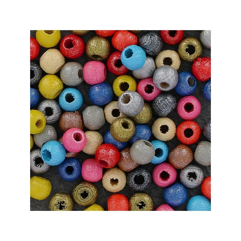 perles rondes en bois 4 mm naturel nacr x50 perles co. Black Bedroom Furniture Sets. Home Design Ideas