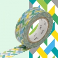 Masking Tape 15 mm Entrelacs Multicolore Slash Green x10m