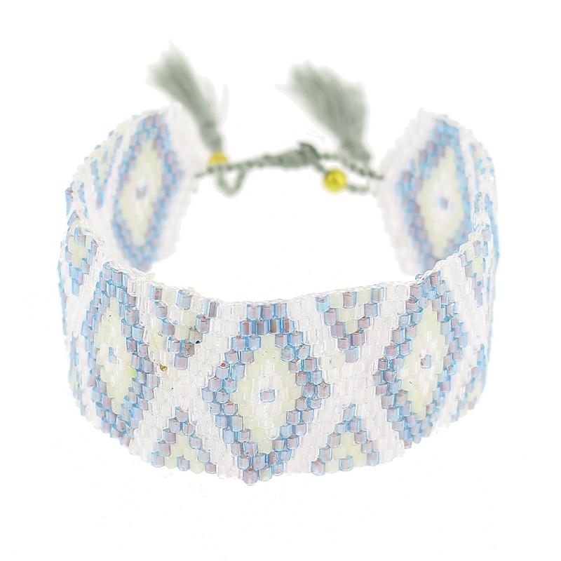Beliebt Bracelet tissé en perles motif navajo 28 mm Blanc/Gris - Perles & Co QD55