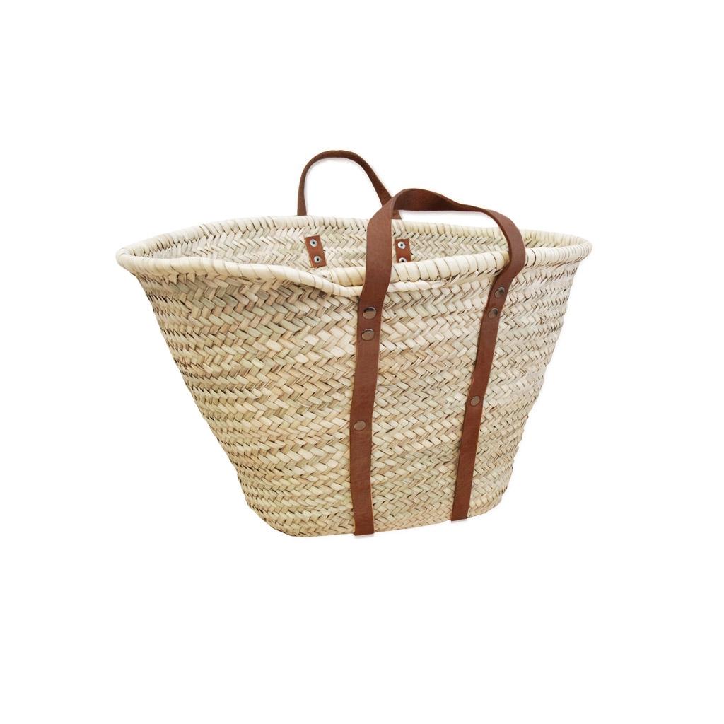 Panier couffin en palmier naturel et anses en cuir 36x57 cm Naturel ... 2da8b2a502a