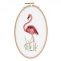 Kit de broderie point de croix compté 21x13 cm Flamant Rose