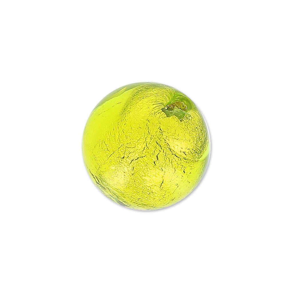 Ronde murano 10 mm feuille d 39 or light olivine x1 perles co for Feuille inox a coller