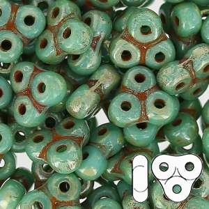 Trinity Beads 6 mm Green Turquoise Picasso x5g