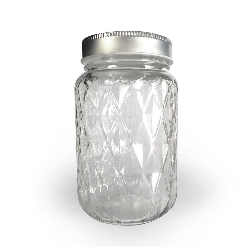 bocal en verre 375 ml motif diamant x1 graine cr ative perles co. Black Bedroom Furniture Sets. Home Design Ideas