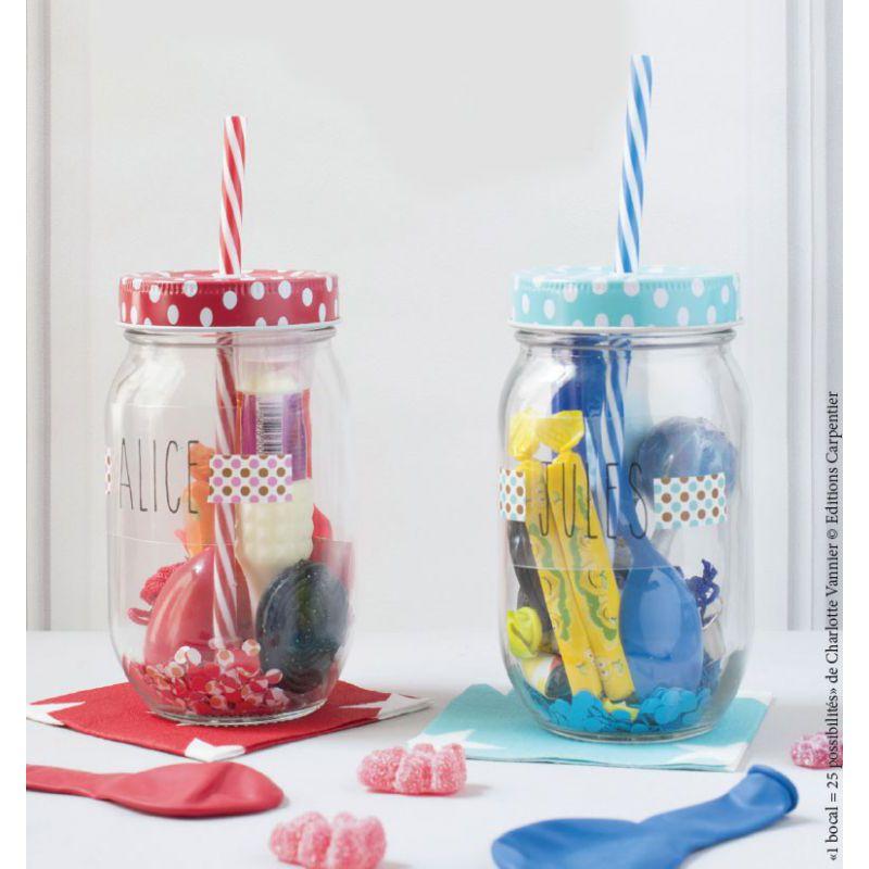 couvercle en m tal pour bocal en verre motif rayures bleu x1 perles co. Black Bedroom Furniture Sets. Home Design Ideas