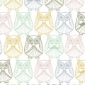 Tissu Coton enduit Christel G Design - Mr et Mme Hibou en Scandinavie x10cm