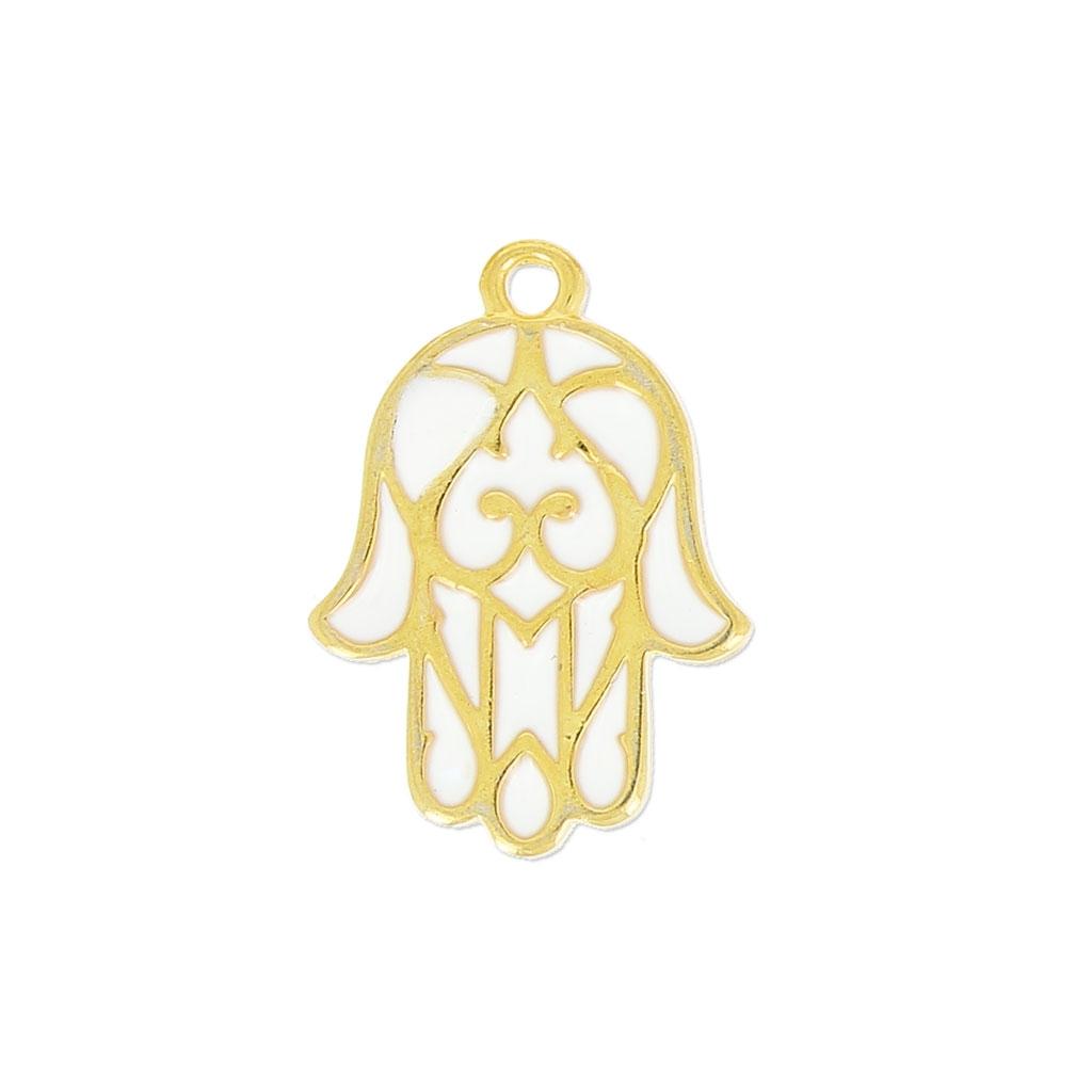 breloque main de fatma r sine poxy 19 mm blanc dor x1 perles co. Black Bedroom Furniture Sets. Home Design Ideas