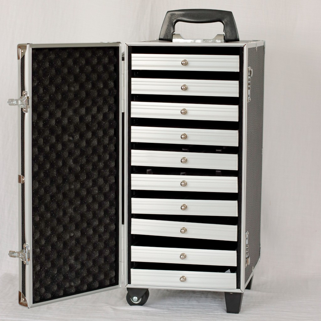 valise transport bijoux avec plateaux 51x23x33 5 cm blanc paillet perles co. Black Bedroom Furniture Sets. Home Design Ideas