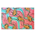 Tissu Wax - Paisley - Turquoise/Pink x10cm