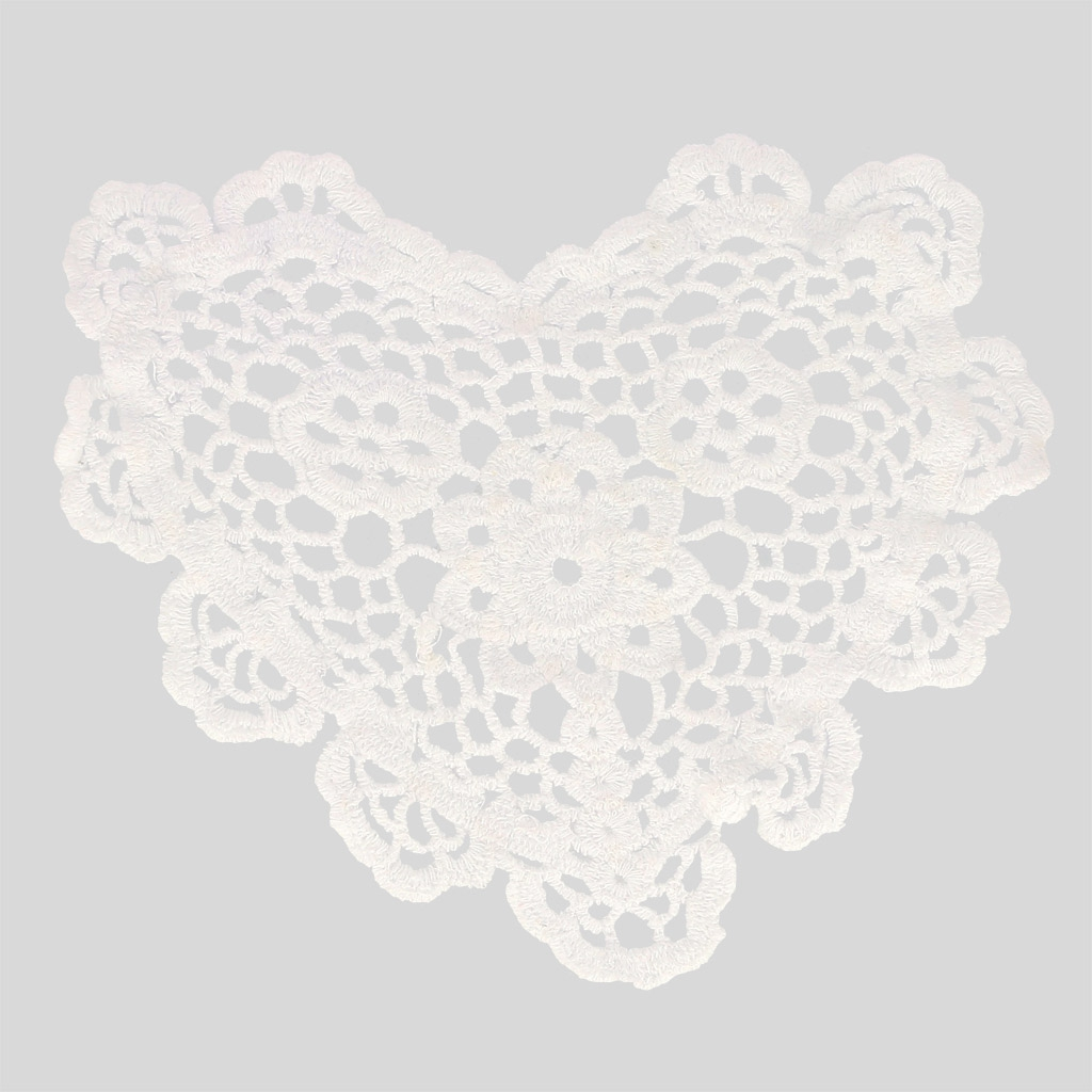 Napperon crochet dentelle coeur 20 cm blanc x1 perles co - Napperon dentelle crochet ...