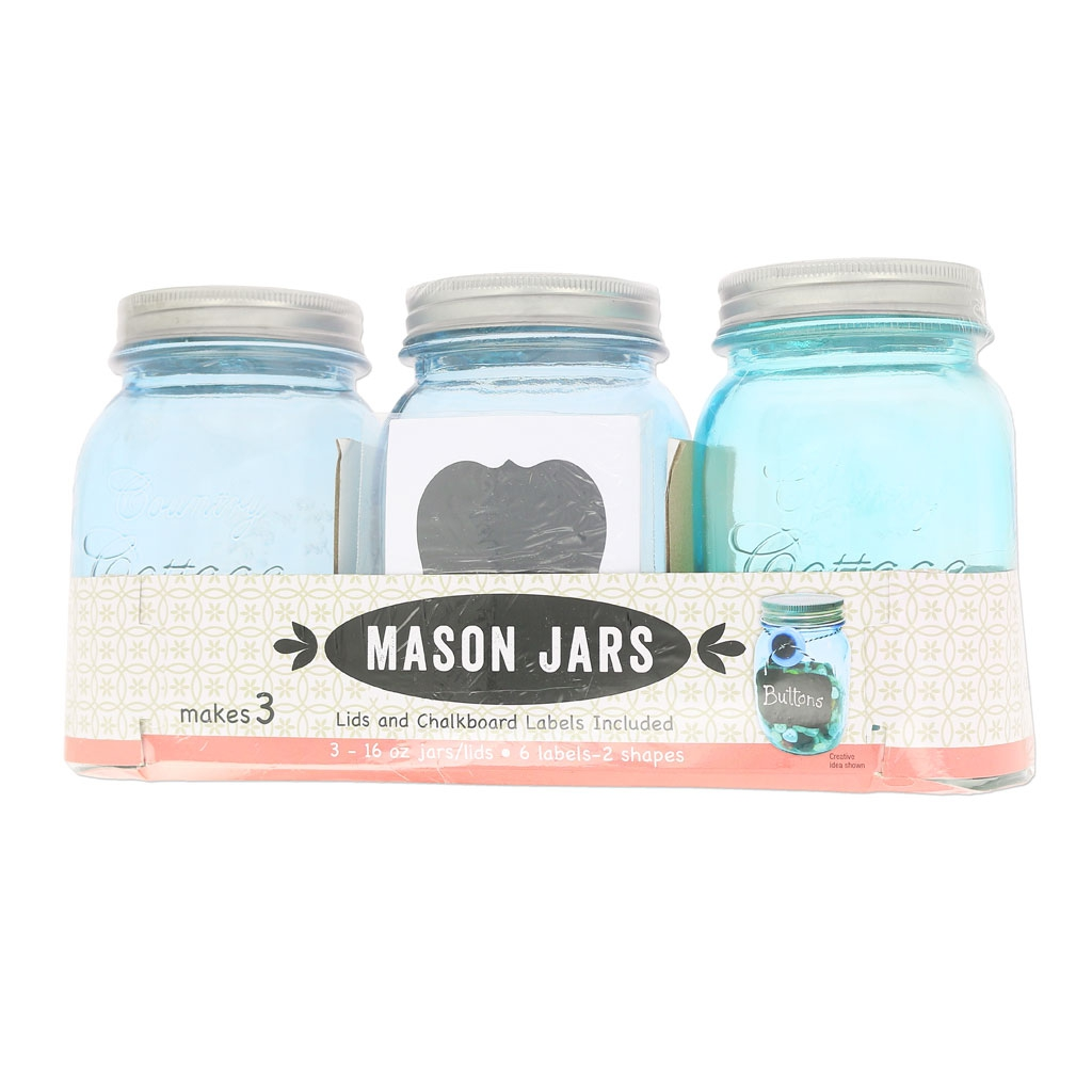 assortiment de 3 bocaux mason jar en verre 16 oz de bleu perles co. Black Bedroom Furniture Sets. Home Design Ideas