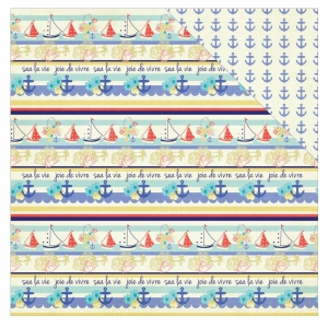 Feuille cardstock recto/verso Julie Nutting 30.5x30.5 cm Bateau/Ancre x1