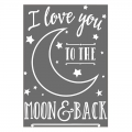 Transfert thermocollant I love you to the moon and back 24.8x17 cm Blanc x1
