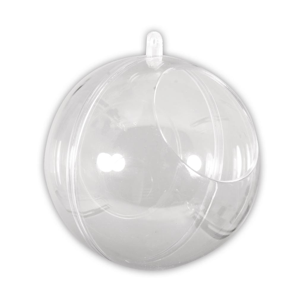 Boule Plastique A Decorer boule de noël transparente à garnir 100 mm avec ouverture de 60 mm x1