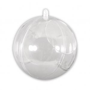 Boule de Noël transparente à garnir 100 mm avec ouverture de 60 mm
