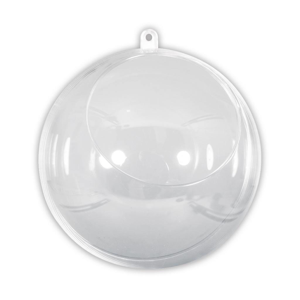 Boule Plastique A Decorer boule de noël transparente à garnir 120 mm avec ouverture de 75 mm x1
