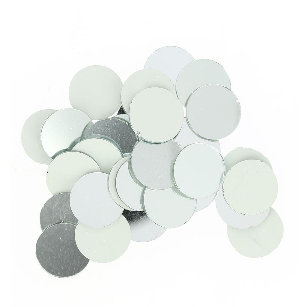 Set de 60 mosa ques miroir en verre rond 20 mm x1 rico for Gros miroir rond
