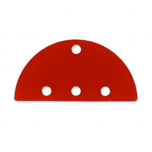 Intercalaire demi-disque 3 rangs en plexiglas 12x25 mm Rouge Semi-opaque x1