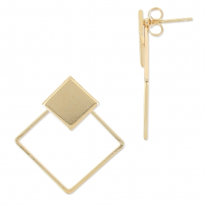 Clous d'oreilles carré double ajouré 31 mm light gold HQ x2