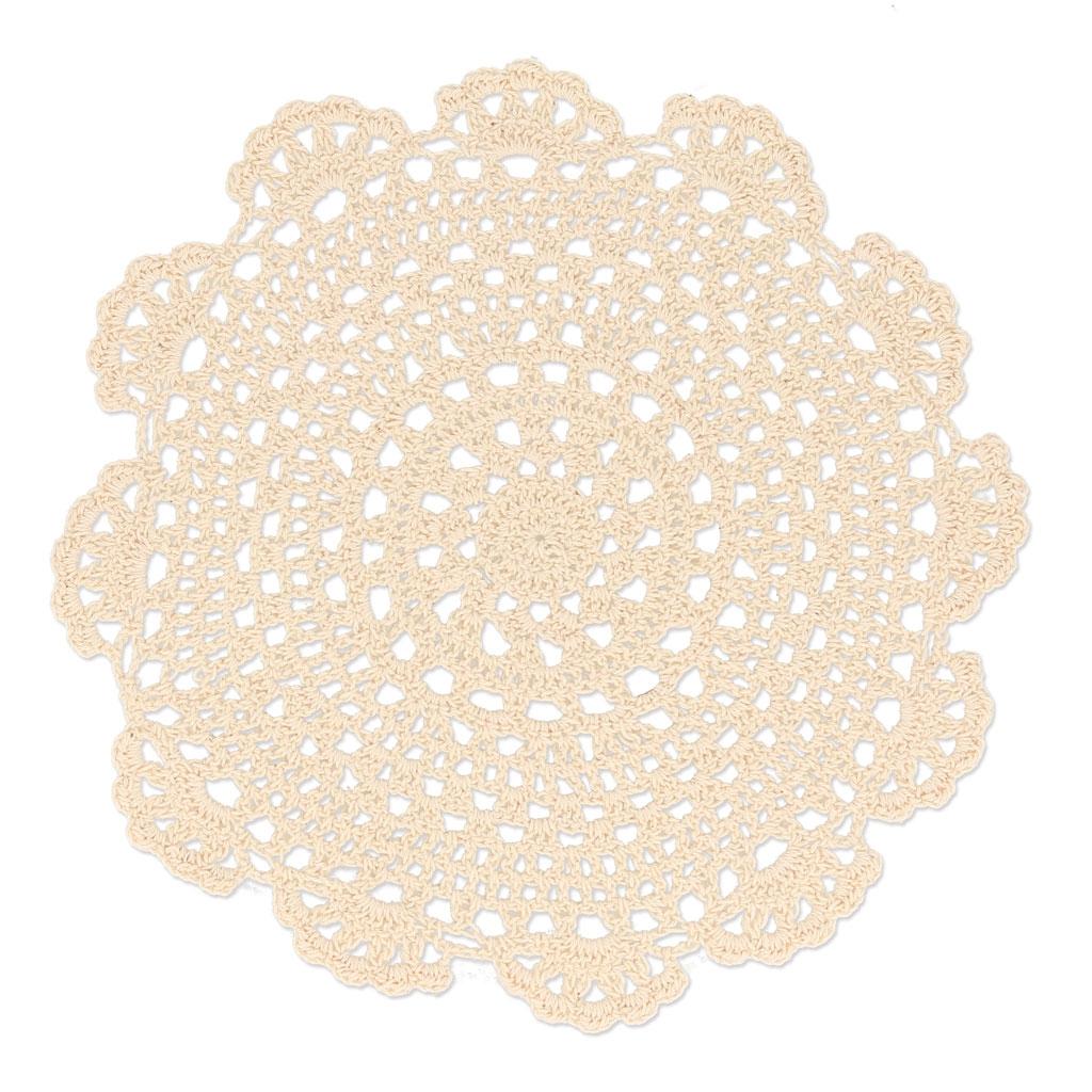 Napperon crochet dentelle fleur 23 cm beige x1 perles co - Napperon dentelle crochet ...