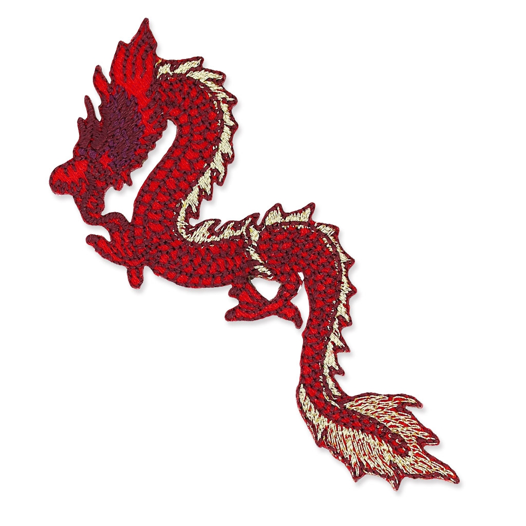 Ecusson Thermocollant 80x43 Mm Dragon Chinois Rouge X1 Perles Co