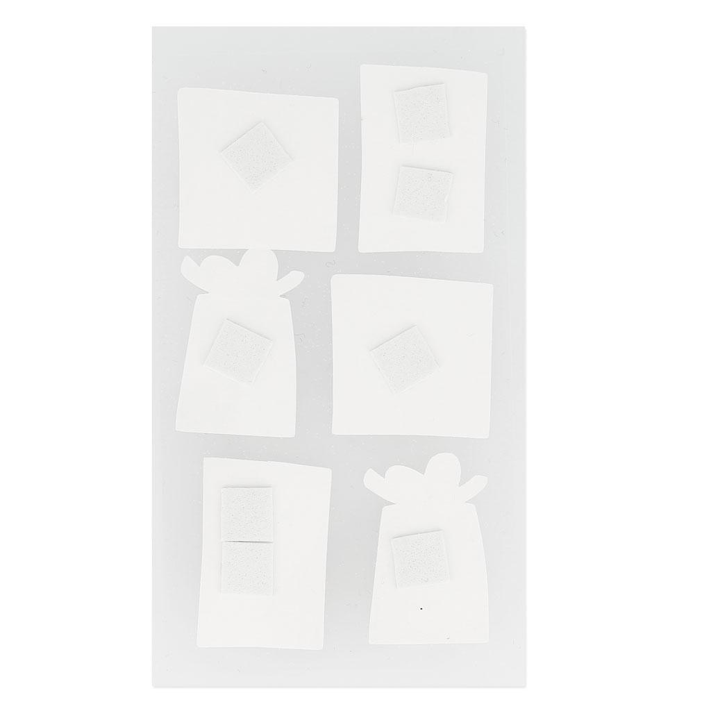 planche de 6 stickers en 3d 7x15 cm sapins pois argent. Black Bedroom Furniture Sets. Home Design Ideas