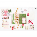 Planche de 6 stickers en 3D 7x15 cm Elans naturel/rouge