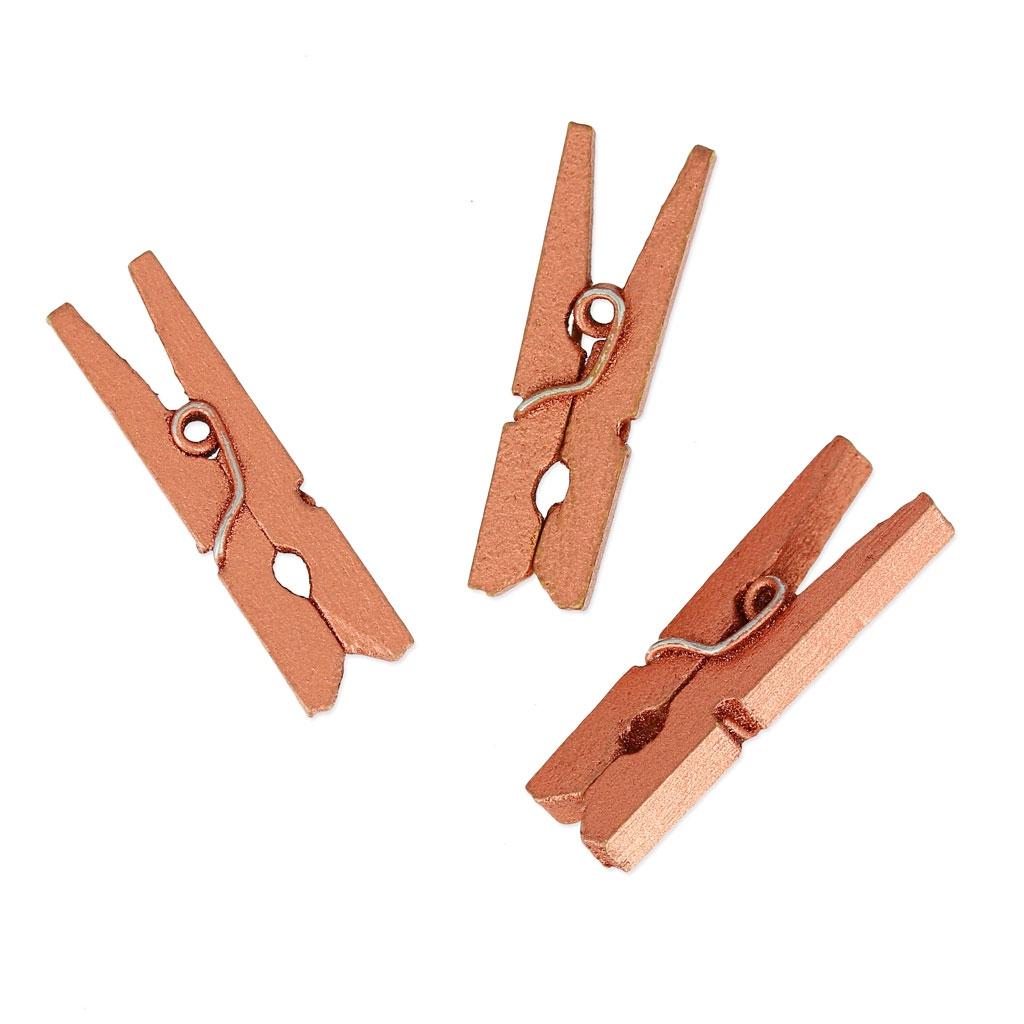 mini pinces linge en bois pour d coration 30 mm cuivr. Black Bedroom Furniture Sets. Home Design Ideas