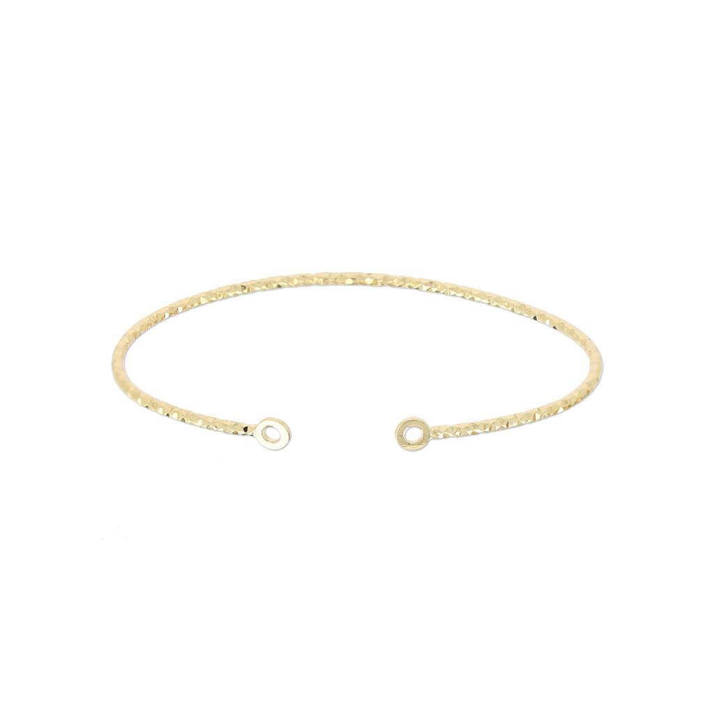 Bracelet jonc diamanté 2 anneaux 51x64 mm Plaqué Or 3 microns x1