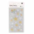 Stickers Paper Poetry Etoiles 10 � 25 mm Argent�/Dor� x100