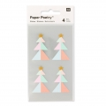 Stickers Paper Poetry Sapins 43 mm Pastel/Doré x16